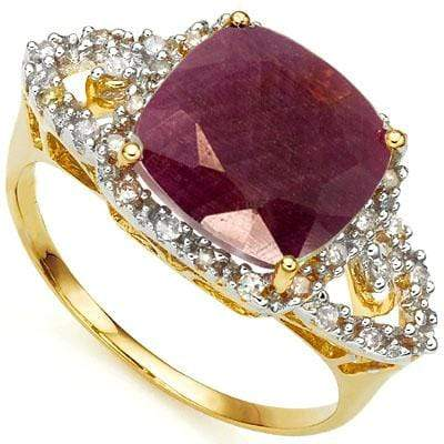 CLASSY 4.05 CARAT TW (31 PCS) GENUINE RUBY & GENUINE DIAMOND 10K SOLID YELLOW GO - Wholesalekings.com