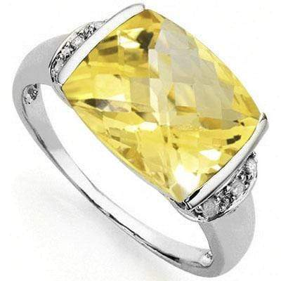 CLASSY 5.16 CARAT TW CITRINE & GENUINE DIAMOND PLATINUM OVER 0.925 STERLING SILVER RING - Wholesalekings.com