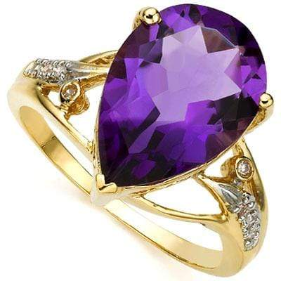 CLASSY 5.29 CARAT TW (9 PCS) AMETHYST  GENUINE DIAMOND 10K SOLID YELLOW GOLD RIN - Wholesalekings.com
