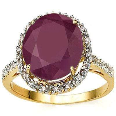 CLASSY 6.27 CARAT TW (23 PCS) GENUINE RUBY  GENUINE DIAMOND 10K SOLID YELLOW GOLD RING wholesalekings wholesale silver jewelry
