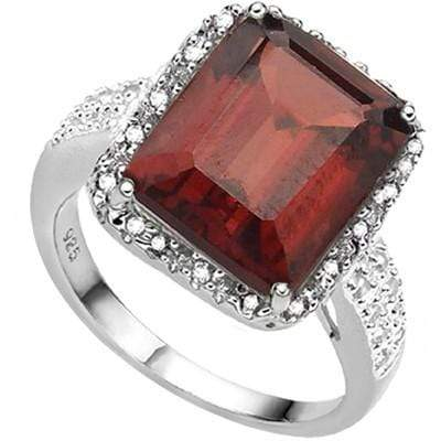 CLASSY 6.95 CT GARNET & 2 PCS WHITE DIAMOND 0.925 STERLING SILVER W/ PLATINUM RING - Wholesalekings.com