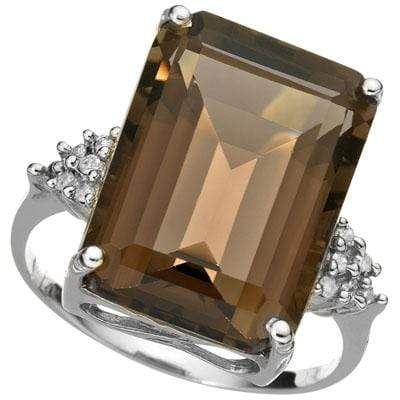 CLASSY 9.32 CARAT TW (13 PCS) SMOKEY TOPAZ & GENUINE DIAMOND 14K SOLID WHITE GOL - Wholesalekings.com