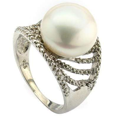 CLASSY 9.82 CT WHITE PEARL & 2 PCS WHITE DIAMOND PLATINUM OVER 0.925 STERLING SILVER RING - Wholesalekings.com