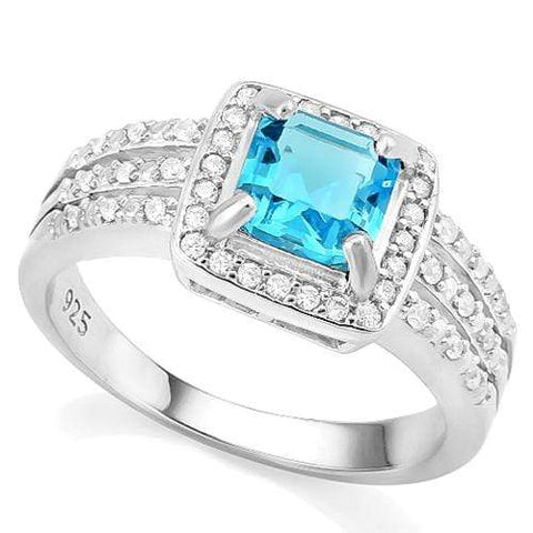 CREATED BLUE TOPAZ & 1/4 CARAT CREATED WHITE SAPPHIRE 925 STERLING SILVER RING - Wholesalekings.com