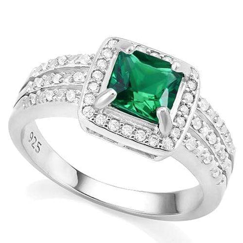 CREATED EMERALD & 1/4 CARAT CREATED WHITE SAPPHIRE 925 STERLING SILVER RING wholesalekings wholesale silver jewelry
