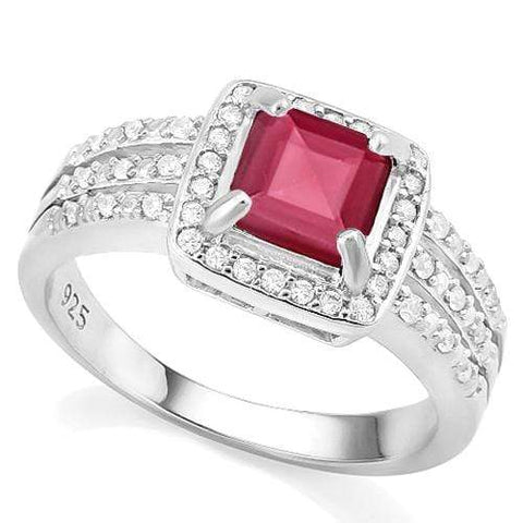 CREATED RUBY &  1/4 CARAT CREATED WHITE SAPPHIRE 925 STERLING SILVER RING - Wholesalekings.com