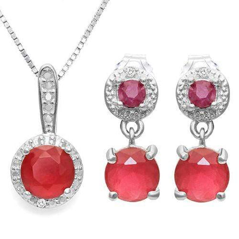 CREATED RUBY & 1/4 CARAT RUBY 925 STERLING SILVER SET - Wholesalekings.com