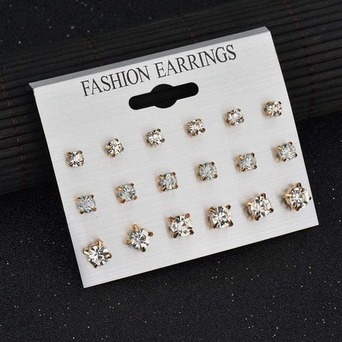 CZ stud Earrings 14kt gold Plated 54 Pairs (18 pairs of each size) german - Wholesalekings.com