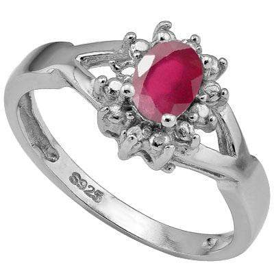 DAZZLING 0.575 CARAT TW  AFRICAN RUBY & GENUINE DIAMOND PLATINUM OVER 0.925 STERLING SILVER RING - Wholesalekings.com