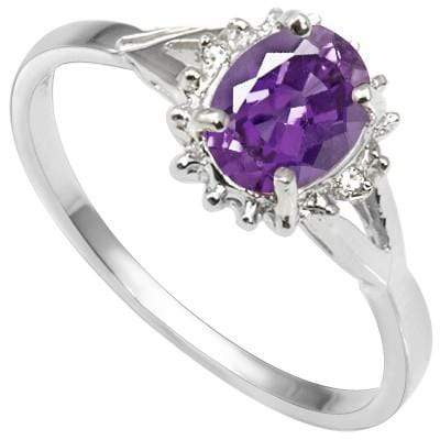 DAZZLING 0.68 CT AMETHYST & 2 PCS WHITE DIAMOND PLATINUM OVER 0.925 STERLING SILVER RING - Wholesalekings.com