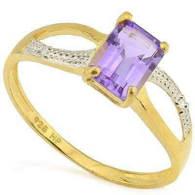 DAZZLING 1.00 CT AMETHYST & 2 PCS WHITE DIAMOND 24K GOLD PLATED RING wholesalekings wholesale silver jewelry