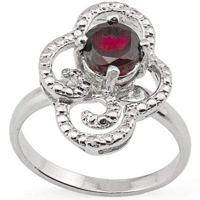 DAZZLING 1.251 CARAT GARNET & GENUINE DIAMOND PLATINUM OVER 0.925 STERLING SILVER RING - Wholesalekings.com