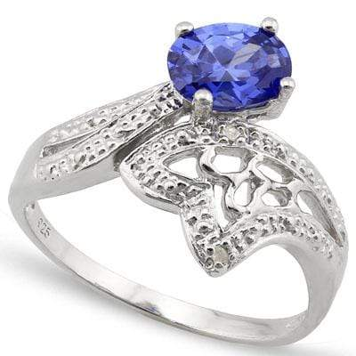 DAZZLING 1.27 CT LAB TANZANITE & 2PCS GENUINE DIAMOND PLATINUM OVER 0.925 STERLING SILVER RING - Wholesalekings.com