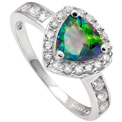 DAZZLING 1.42 CARAT TW  GREEN MYSTIC GEMSTONE & CUBIC ZIRCONIA PLATINUM OVER 0.925 STERLING SILVER RING - Wholesalekings.com