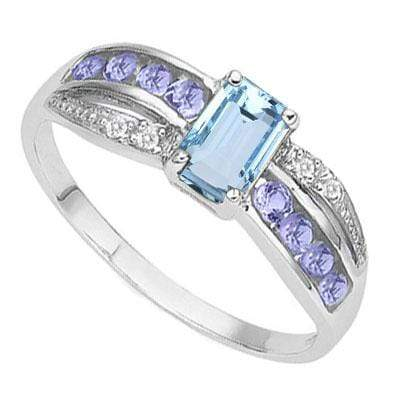 DAZZLING 1.451 CARAT TW  BLUE TOPAZ & GENUINE TANZANITE PLATINUM OVER 0.925 STERLING SILVER RING - Wholesalekings.com