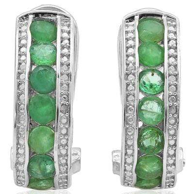 DAZZLING 1.692 CARAT GENUINE EMERALD & GENUINE DIAMOND PLATINUM OVER 0.925 STERLING SILVER FRENCH BACK EARRINGS wholesalekings wholesale silver jewelry