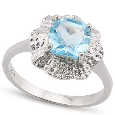 DAZZLING 1.769 CARAT TW  BLUE TOPAZ & GENUINE DIAMOND PLATINUM OVER 0.925 STERLING SILVER RING - Wholesalekings.com
