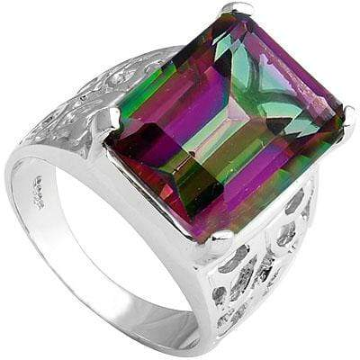 DAZZLING 11.3 CARAT  MYSTIC GEMSTONE PLATINUM OVER 0.925 STERLING SILVER RING - Wholesalekings.com