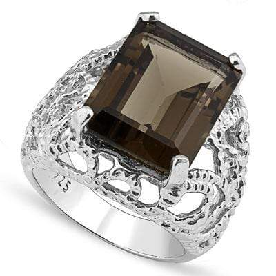DAZZLING 12.00 CT SMOKEY TOPAZ 0.925 STERLING SILVER W/ PLATINUM RING - Wholesalekings.com