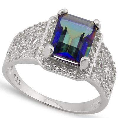 DAZZLING 2.06 CARAT TW  OCEAN MYSTIC GEMSTONE & GENUINE DIAMOND PLATINUM OVER 0.925 STERLING SILVER RING - Wholesalekings.com