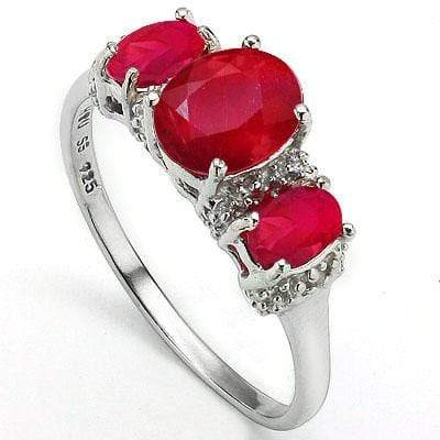 DAZZLING 2.17 CT GENUINE RUBY & 2 PCS WHITE DIAMOND 0.925 STERLING SILVER W/ PLATINUM RING wholesalekings wholesale silver jewelry