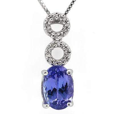 DAZZLING 2.304 CARAT TW (23 PCS) GENUINE VIOLET BLUE TANZANITE & GENUINE DIAMOND 14K SOLID WHITE GOLD PENDANT - Wholesalekings.com