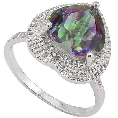 DAZZLING 3.18 CT MYSTIC GEMSTONE & 2 PCS WHITE DIAMOND PLATINUM OVER 0.925 STERLING SILVER RING - Wholesalekings.com