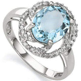 DAZZLING 3.28 CARAT TW (41 PCS) BLUE TOPAZ & GENUINE DIAMOND 10K SOLID WHITE GOL - Wholesalekings.com