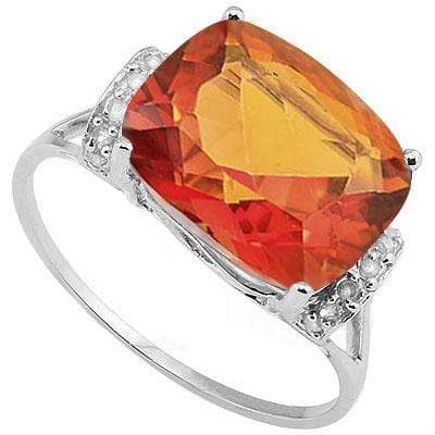 DAZZLING 4.823 CARAT AZOTIC GEMSTONE & GENUINE DIAMOND PLATINUM OVER 0.925 STERLING SILVER RING - Wholesalekings.com