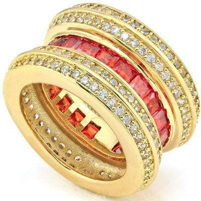 DAZZLING 5.40 CT CREATED RED SAPPHIRE & 160 PCS CREATED WHITE SAPPHIRE 18K YELLOW GOLD OVER STERLING SILVER RING wholesalekings wholesale silver jewelry