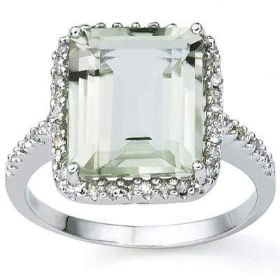 DAZZLING 6.06 CARAT TW (3 PCS) GREEN AMETHYST & GENUINE DIAMOND PLATINUM OVER 0.925 STERLING SILVER RING - Wholesalekings.com