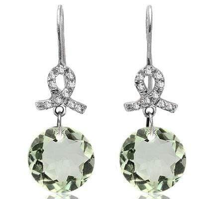 DAZZLING 6.46 CT GREEN AMETHYST & 20 PCS WHITE DIAMOND 10K SOLID WHITE GOLD EARRINGS wholesalekings wholesale silver jewelry