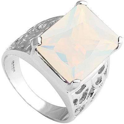 DAZZLING 9.18 CT LAB CREATED OPAL PLATINUM OVER 0.925 STERLING SILVER RING - Wholesalekings.com