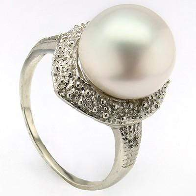 DAZZLING 9.78 CT WHITE PEARL & 2 PCS WHITE DIAMOND PLATINUM OVER 0.925 STERLING SILVER RING - Wholesalekings.com