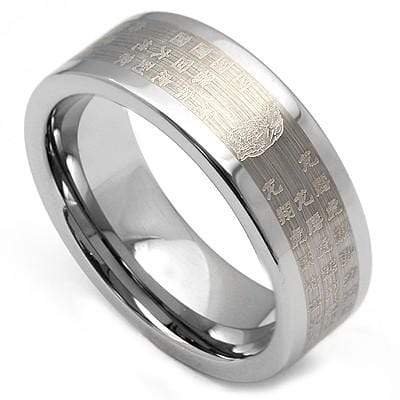 DAZZLING LASER CHINESE CHARACTERS ENGRAVED  CARBIDE TUNGSTEN RING - Wholesalekings.com