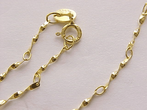 DAZZLING YELLOW GOLD PLATED PURE 925 ITALY STERLING SILVER NECKLACE-24 Inches - Wholesalekings.com