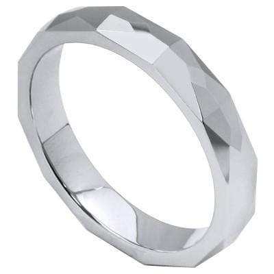 Diamond Faceted 4mm Tungsten Ring - Wholesalekings.com