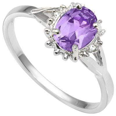 ELEGANT 0.51 CARAT TW  AMETHYST & GENUINE DIAMOND PLATINUM OVER 0.925 STERLING SILVER RING - Wholesalekings.com