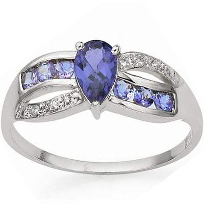 ELEGANT 0.62 CARAT TW GENUINE TANZANITE & GENUINE TANZANITE PLATINUM OVER 0.925 STERLING SILVER RING - Wholesalekings.com