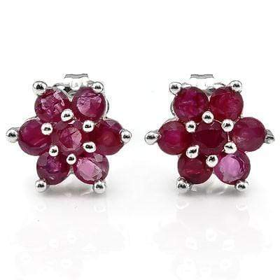ELEGANT 0.99 CT GENUINE RUBY 10K SOLID WHITE GOLD EARRINGS - Wholesalekings.com