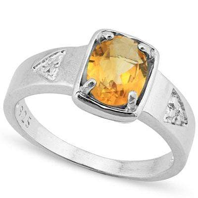 ELEGANT 1.00 CT CITRINE & 2PCS GENUINE DIAMOND PLATINUM OVER 0.925 STERLING SILVER RING - Wholesalekings.com