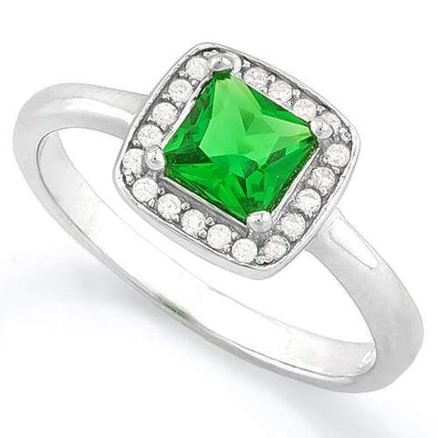 ELEGANT!1 1/2 CARAT CREATED EMERALD &  1/5 CARAT (20 PCS) FLAWLESS CREATED DIAMOND 925 STERLING SILVER HALO RING - Wholesalekings.com