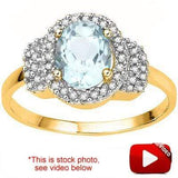 ELEGANT 1.38 CT AQUAMARINE & 46 PCS WHITE DIAMOND 10K SOLID YELLOW GOLD RING wholesalekings wholesale silver jewelry