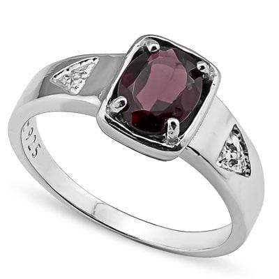 ELEGANT 1.59 CARAT GARNET & GENUINE DIAMOND PLATINUM OVER 0.925 STERLING SILVER RING - Wholesalekings.com