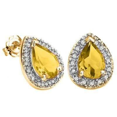 ELEGANT 1.81 CT CITRINE & 32 PCS GENUINE DIAMOND 10K SOLID YELLOW GOLD EARRINGS - Wholesalekings.com