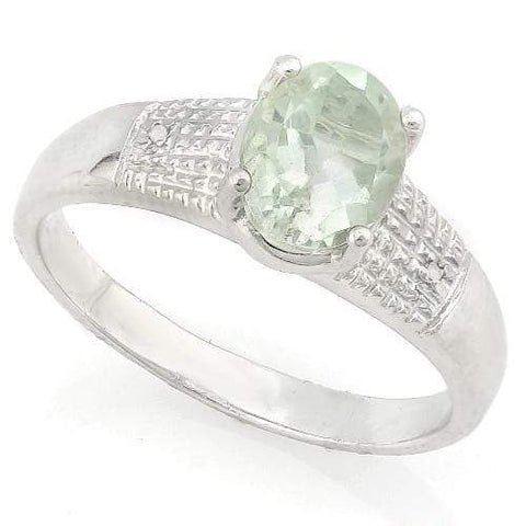 ELEGANT ! 1 CARAT GREEN AMETHYST & DIAMOND 925 STERLING SILVER RING - Wholesalekings.com