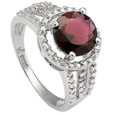 ELEGANT 2.30 CT GARNET & 2 PCS GENUINE DIAMOND PLATINUM OVER 0.925 STERLING SILVER RING - Wholesalekings.com