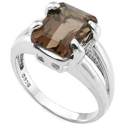 ELEGANT 3.00 CT SMOKEY TOPAZ 0.925 STERLING SILVER W/ PLATINUM RING - Wholesalekings.com