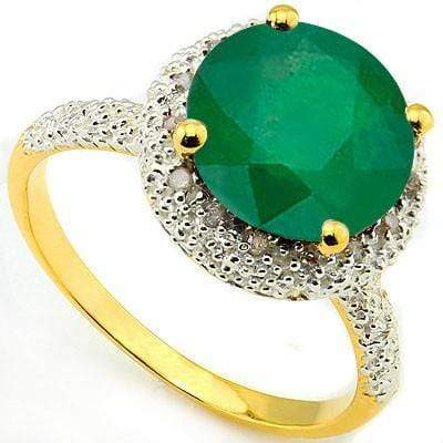 ELEGANT 3.40 CT GENUINE EMERALD & 15 PCS WHITE DIAMOND 10K SOLID YELLOW GOLD RING wholesalekings wholesale silver jewelry