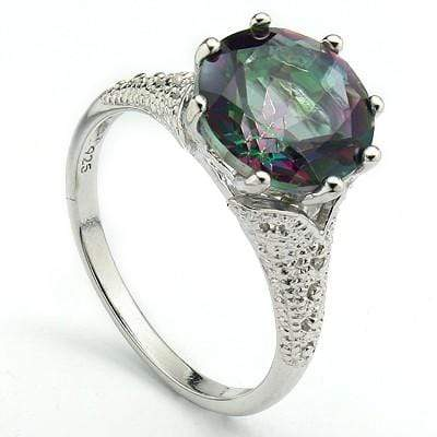 ELEGANT 3.40 CT MYSTIC GEMSTONE & 2 PCS WHITE DIAMOND 0.925 STERLING SILVER W/ PLATINUM RING wholesalekings wholesale silver jewelry